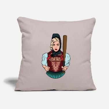 "Cherry Black Forest traditional costume Baseball bat - Throw Pillow Cover 18"" x 18"""
