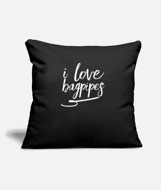 "England Pillow Cases - I love Bagpipes - Throw Pillow Cover 18"" x 18"" black"