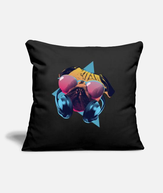 "Rap Pillow Cases - Party Pug With Headphones - Throw Pillow Cover 18"" x 18"" black"