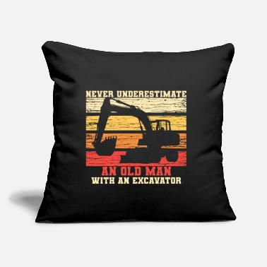 "Destruction Old Man With An Excavator - Throw Pillow Cover 18"" x 18"""