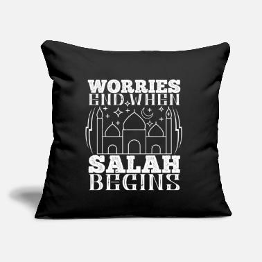 "Muslim Islam - Worries End When Salah Begins - Throw Pillow Cover 18"" x 18"""