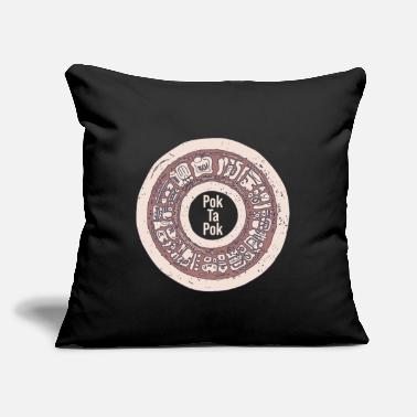 "Pok Ta Pok - Stone Hoop with Text - Mayan Ball - Throw Pillow Cover 18"" x 18"""