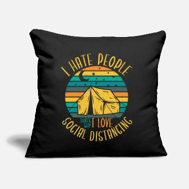 "Stupid Social Distance because People Suck Sarcasm Shirt - Throw Pillow Cover 18"" x 18"""