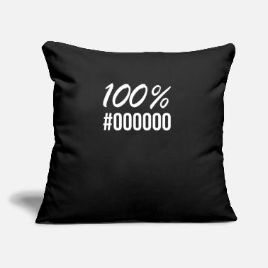 "100% Black - #000000 - Throw Pillow Cover 18"" x 18"""