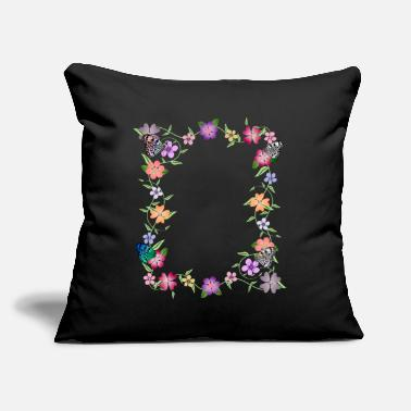 "flowers tendril, floral, bloom, butterfly, insect - Throw Pillow Cover 18"" x 18"""