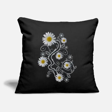 "daisy flowers white daisies bloom floral ornaments - Throw Pillow Cover 18"" x 18"""