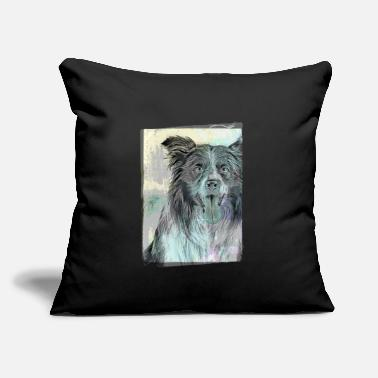 "Cute Border Collie Vintage Style - Throw Pillow Cover 18"" x 18"""