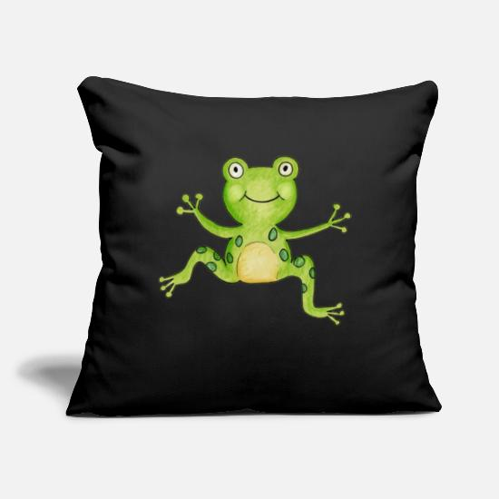 "Nature Pillow Cases - Frog Animal Drawing Artwork Design Cute Gifts - Throw Pillow Cover 18"" x 18"" black"