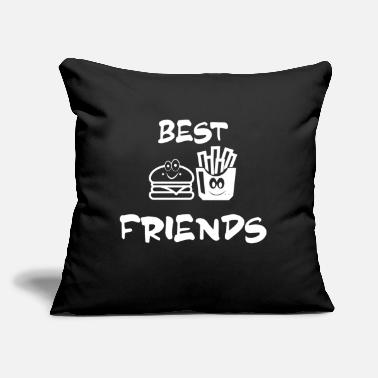 "Hot Dog French Fries Burger Hamburger fun friends - Throw Pillow Cover 18"" x 18"""