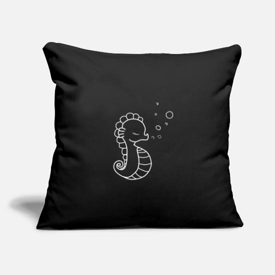 "Gift Idea Pillow Cases - Sea Horse - Throw Pillow Cover 18"" x 18"" black"