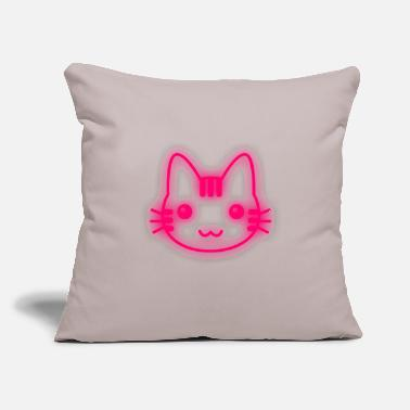 "Neon Cat neon kitty glowing - Throw Pillow Cover 18"" x 18"""