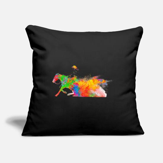 "Western Pillow Cases - riding western riding - Throw Pillow Cover 18"" x 18"" black"
