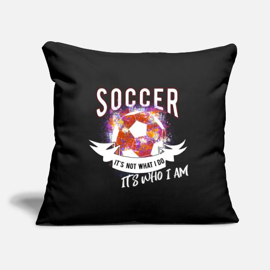 "Love Pillow Cases - Soccer - Throw Pillow Cover 18"" x 18"" black"