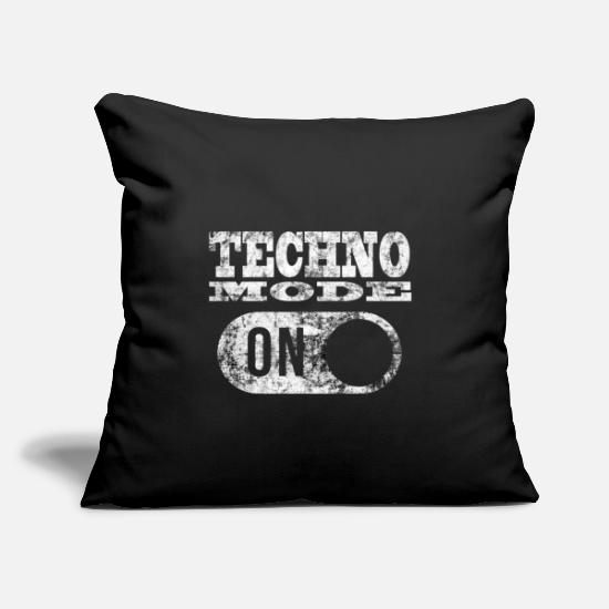 "Techno Pillow Cases - TECHNO MODE ON - Throw Pillow Cover 18"" x 18"" black"