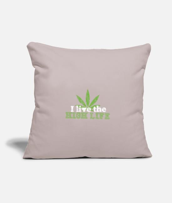 "Joint Pillow Cases - Weed - Throw Pillow Cover 18"" x 18"" light taupe"