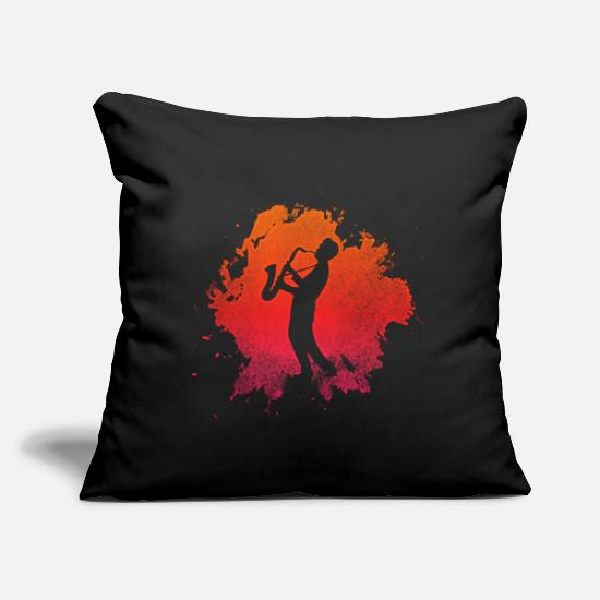 "Brass Band Pillow Cases - saxophone brass band gift - Throw Pillow Cover 18"" x 18"" black"