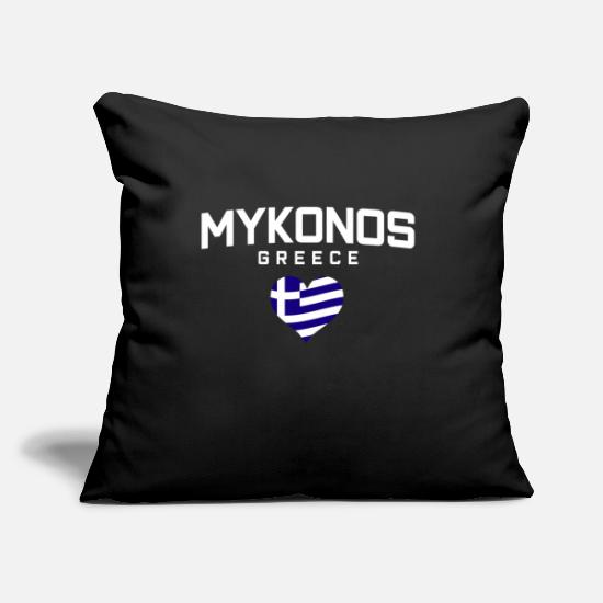"Mykonos Pillow Cases - Mykonos Greece - Throw Pillow Cover 18"" x 18"" black"