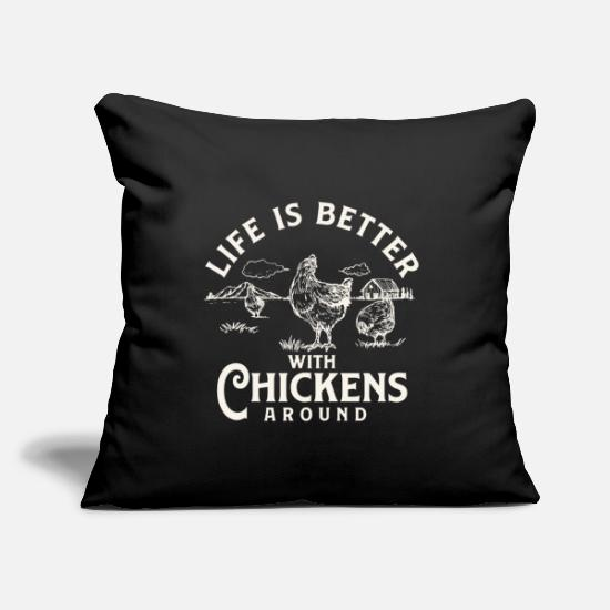 "Animal Pillow Cases - Life is Better With Chickens Around Farm - Throw Pillow Cover 18"" x 18"" black"