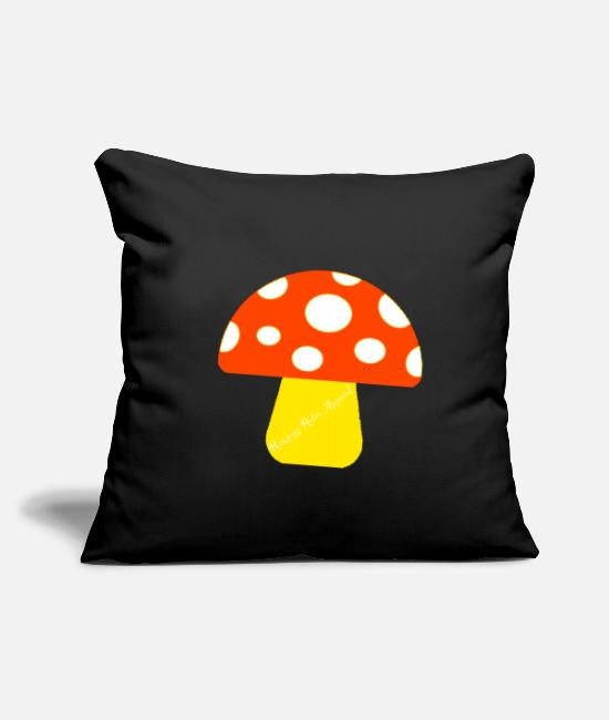 "Fan Pillow Cases - ""Ramseys Mushroom"" - Throw Pillow Cover 18"" x 18"" black"