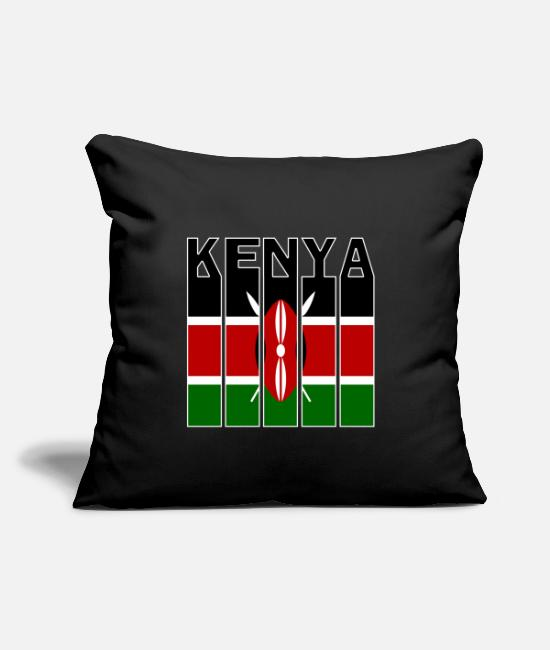 "Country Pillow Cases - Kenya Flags Design - Throw Pillow Cover 18"" x 18"" black"