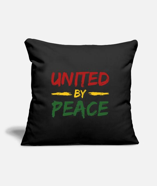 "Rasta Pillow Cases - united by peace - Throw Pillow Cover 18"" x 18"" black"