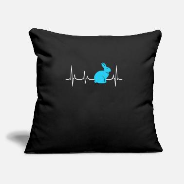 "Heart Rate Easter Gift Easter Bunny Heartbeat Heart Line ECG - Throw Pillow Cover 18"" x 18"""