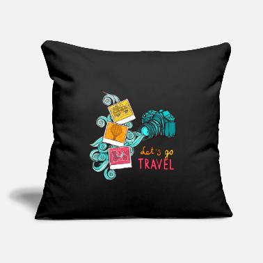 "Lets Travel - Throw Pillow Cover 18"" x 18"""
