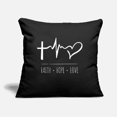 "Christian Cool Christian - Cross Heartbeat Faith Hope Love - Throw Pillow Cover 18"" x 18"""