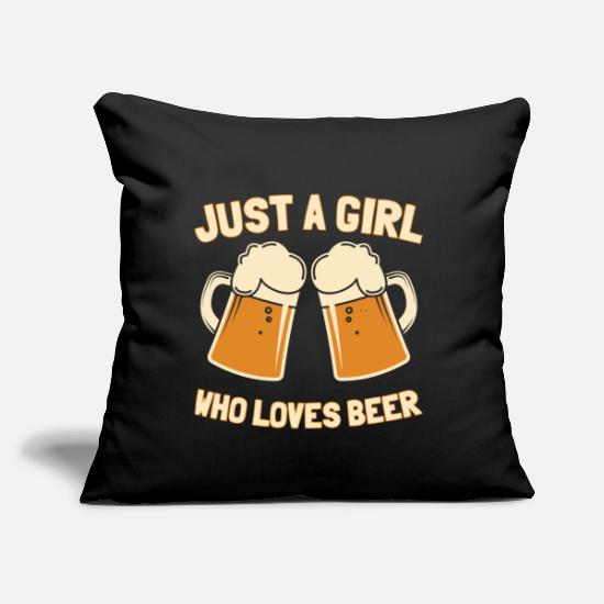 "This Pillow Cases - Just A Girl Beer Drinker Party Mug Funny Gift - Throw Pillow Cover 18"" x 18"" black"