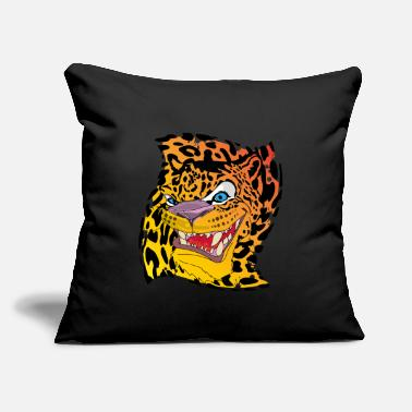 "Leopard Leopard with a leopard background - Throw Pillow Cover 18"" x 18"""