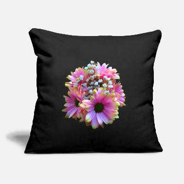 "bunch of flowers pink yellow daisy daisies bloom - Throw Pillow Cover 18"" x 18"""