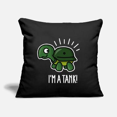 "Helmet I'm a tank - funny turtle with army helmet - Throw Pillow Cover 18"" x 18"""