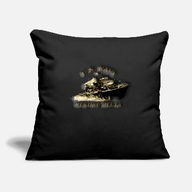 "Pbr pbr blk whht2B WITH U S NAVY AND MEKONG DELTA png - Throw Pillow Cover 18"" x 18"""