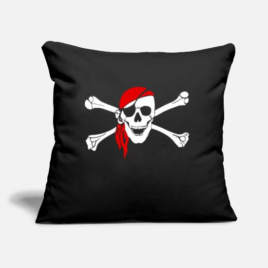 "Pirate Pillow Cases - Skull and bones - Throw Pillow Cover 18"" x 18"" black"