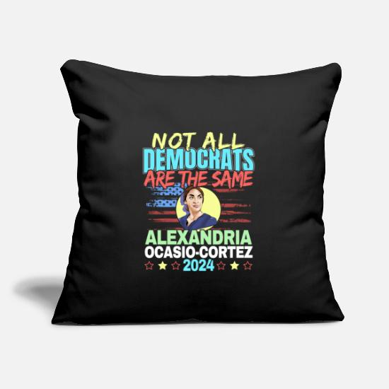 "Alexandria Pillow Cases - Ocasio Cortez Activist Quote - New York Democrat - Throw Pillow Cover 18"" x 18"" black"