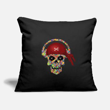 "Disc Jockey Headphones Skull Head with Headphones Disc Jockey DJ - Throw Pillow Cover 18"" x 18"""