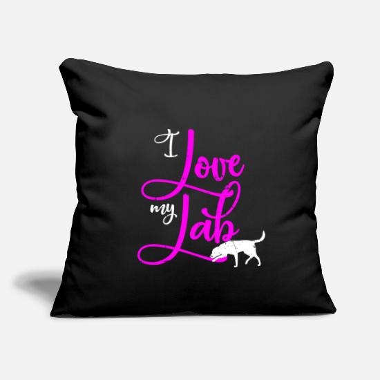 "Gift Idea Pillow Cases - Labrador dog pet heart four-legged female - Throw Pillow Cover 18"" x 18"" black"