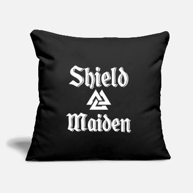 "Viking Shield Maiden Valknut - Throw Pillow Cover 18"" x 18"""