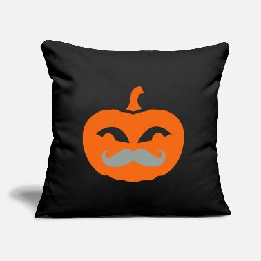 "Mustache Pumpkin - Throw Pillow Cover 18"" x 18"""