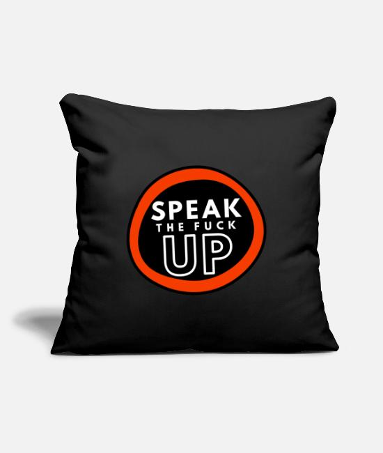 "Blm Pillow Cases - Speak The Fuck Up - Throw Pillow Cover 18"" x 18"" black"