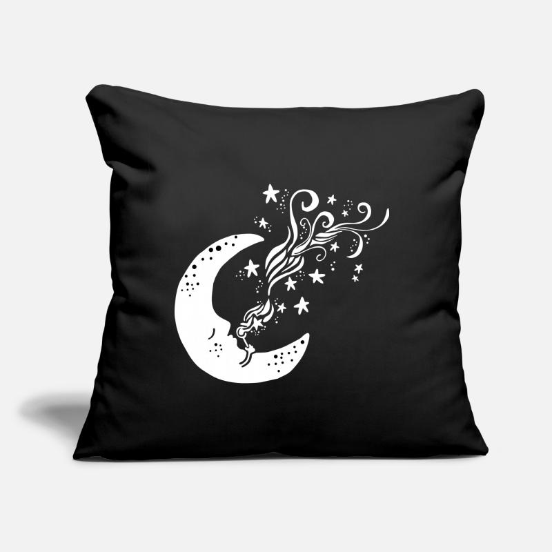 "Moon Pillow Cases - Moon blowing stars - Throw Pillow Cover 18"" x 18"" black"