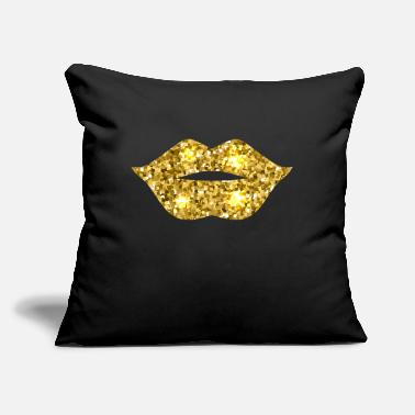 "Gold Gold Glitter Lips product Gifts To Smile - Throw Pillow Cover 18"" x 18"""
