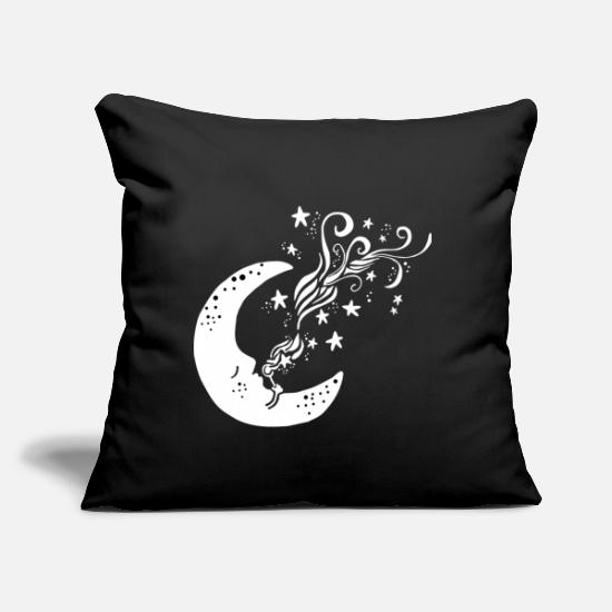 "Stars Pillow Cases - Moon blowing stars - Throw Pillow Cover 18"" x 18"" black"