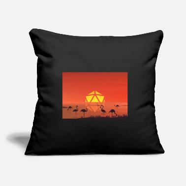 "Pelican Pond Sunset D20 Dice Moon RPG Landscape - Throw Pillow Cover 18"" x 18"""