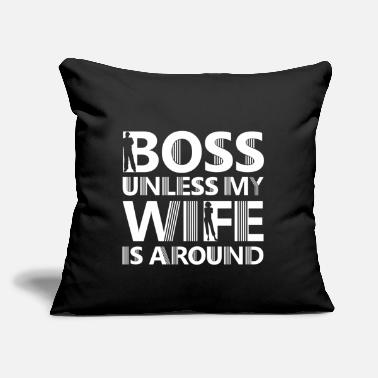 "Husband Boss Boss Wife Husband Statement Gift - Throw Pillow Cover 18"" x 18"""