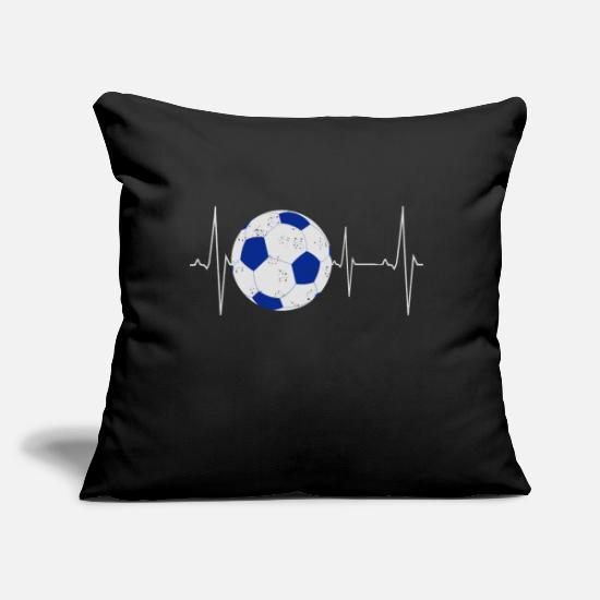 "Soccer Pillow Cases - Soccer Heartbeat Design - Unique Soccer Gifts - Throw Pillow Cover 18"" x 18"" black"