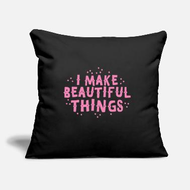 "Workspace i make beautiful things! in pink colour - Throw Pillow Cover 18"" x 18"""
