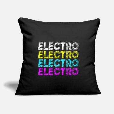 "Electro Electro Electro Electro Electro Music Neon Color - Throw Pillow Cover 18"" x 18"""