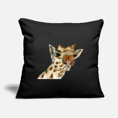 "Stick Out giraffe sticks out its tongue - Throw Pillow Cover 18"" x 18"""