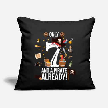 "7th Birthday Boy Only 7 And A Pirate Already - Throw Pillow Cover 18"" x 18"""
